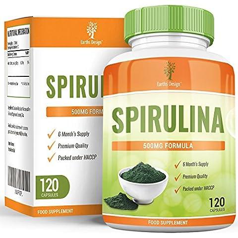 Estratto di Spirulina biologica, integratore ultra potente che rafforza il sistema immunitario, abbassa la pressione sanguigna, riduce il colesterolo e aumenta l'energia – 120 capsule da 500 mg