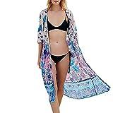 JERFER Damen Mehr Trageweise Floral Chiffon Kimono Cardigan