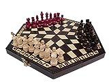 ChessEbook Schachspiel für Drei, 32 x 28 cm, Holz