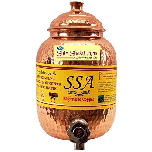 Indian Handicrafts Export Shiv Shakti Arts Handmade Pure Copper Hammered Water Pot/Tank Capacity = 2 Litre