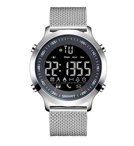 Smart Watch Sport Schrittzähler Wecker Reminder Bluetooth Wasserdicht Langzeit Standby Herrenuhr (Color : Silber) -