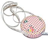 Maßband zum Einrollen 1,5 m rosa Blumen - automatischer Einzug - Einheit cm Inch - Rollmaßband Bandmaß Schneidermaßband 150 cm Mini Körper zum Nähen und Handarbeiten / Schneidermaßband Rollmaßband