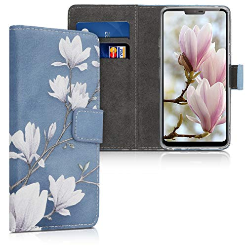 kwmobile LG G7 ThinQ/Fit/One Hülle - Kunstleder Wallet Case für LG G7 ThinQ/Fit/One mit Kartenfächern & Stand - Magnolien Design Taupe Weiß Blaugrau