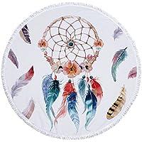 Vesub Dreamcatcher patrón redondo toalla de playa plumas floral impresión borla tapiz de felpa Yoga estera de viaje picnic al aire libre almohadillas 59 in x 59 in