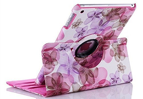 TGK Flower Print Design 360 Degree Rotating PU Leather Case Cover Stand...