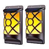 WZTO Lampada da parete solare, 66LED fiamma danzante Luci da giardino solari esterne IP65 Luce di griglia On/Off per Giardino, Bar, Decorazione di Festa -2 Pacchi
