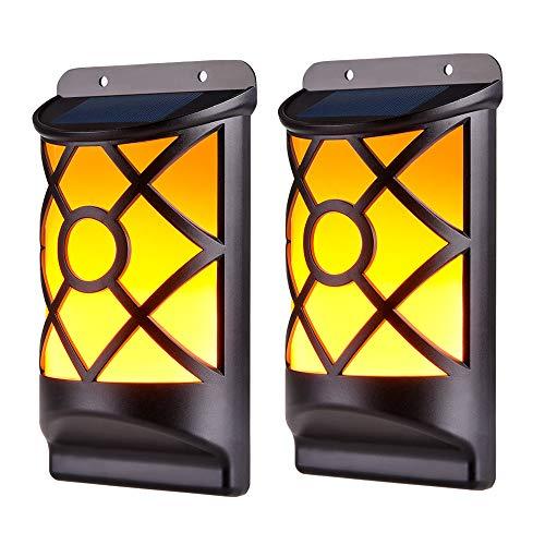 WZTO Solar Wandleuchte IP65 Wasserdicht Solarleuchten Außen 66 LED Flackernde Flamme Automatisch An/Aus Solar Flamme Garten für Garten Außen Patio Zaun Dekoration 2 Stück
