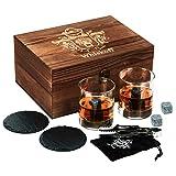 Ensemble de Verres à Whisky de 2 - Coffret Cadeau - Scotch Rocks Pinces, sous-Verres, Pierres de Réfrigération & Verres à Bar - Verres à Boire pour Homme & Femme - Coffret Cadeau Bois