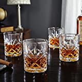 #2: La Corsa Masquerade Crystal Glass Heavy Base Straight Whiskey Glasses Set of 6 | 350 ml Drinking Glasses- Ideal for Whiskey, Vodka, Tequila| Bar tools | Bar Accessories
