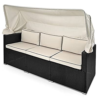 Rattan Sofa Bench Day-Bed Black Outdoor Patio Wicker Furniture Comfortable Recliner Bed Chair with Sun Canopy produced by Deuba - quick delivery from UK.