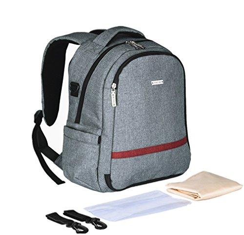Baby Wickeltasche,, Windel Rucksack, Wickeltasche inklusive Wickelunterlage, Kinderwagengurt, wasserdichte Tasche, Mode Mum Rucksack für Reisen und den täglichen Gebrauch