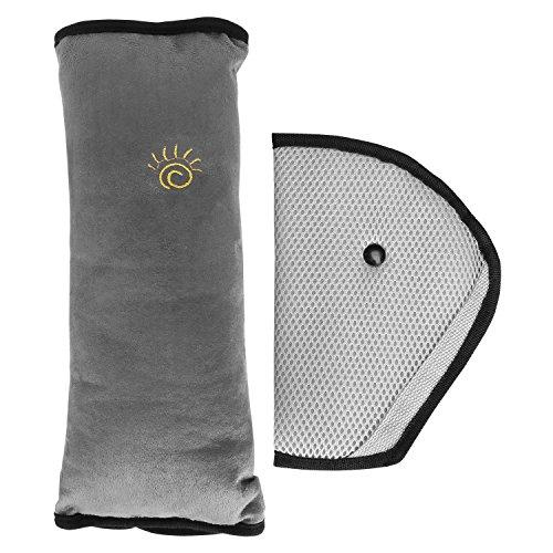 Preisvergleich Produktbild YOHOOLYO Kinder Auto Sicherheitsgurte Schlafkissen Nackenstütze für Kinder Schulterkissen und Sicherheitsabdeckung Grau