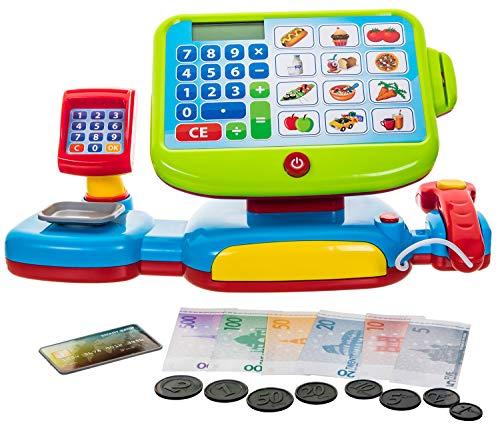 Monster24 Geprüfte elektrische Kinder Spiel Kasse Kassenstation mit Sound Touch Display Scanner Spielgeld etc. für Kaufmannsladen Kaufladen Supermarkt Kinderspiel Einkaufen Supermarkt