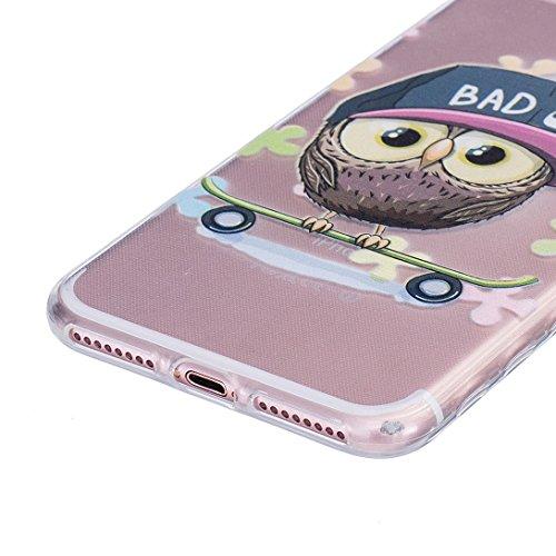Pheant® [4 in 1] Apple iPhone 7 Plus (5.5 pouces) Coque Gel Étui Housse de Protection Transparent Cas avec Verre Trempé Protecteur d'écran Stylet Bouchon Anti Poussiere Hibou