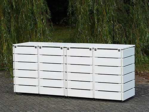 4er Mülltonnenbox / Mülltonnenverkleidung 120 L Holz, Deckend Geölt Weiß - 4