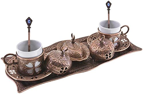 Premium Turkish Greek Arabic Coffee Espresso Serving Set for 2,Cups Saucers Lids Tray Delight Sugar Dish 11pc (Copper Brown) by BOSPHORUS Sugar Tray Set