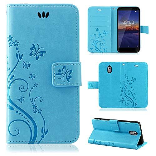 betterfon | Flower Case Handytasche Schutzhülle Blumen Klapptasche Handyhülle Handy Schale für Nokia 3.1 Blau -