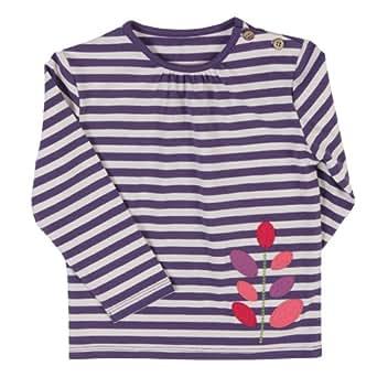 Kite Unisex Baby Stripy Leaf Long Sleeve T-Shirt Purple/Cream 0-3 Months