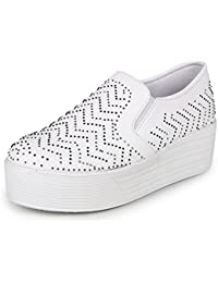 Bella Toes Designer Shoes For Women - Loafers And Mocassins - White Colour Fabric Slip Ons Casual Shoes For Girls...