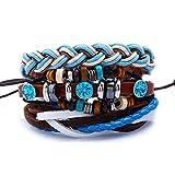969/5000 Mix 3 Wrap Armbänder Männer Frauen, handgemachte Multilayer DIY Wraps bunte Cords Leder Vintage Böhmen Perlen Armband Snap Manschetten Geschenk