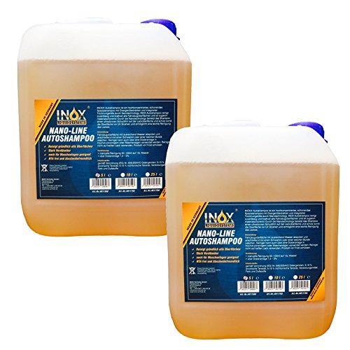 INOX® Nano Line Autoshampoo, hochwirksame Fahrzeug-Reinigung mit Abperleffekt - 2 x 5 L