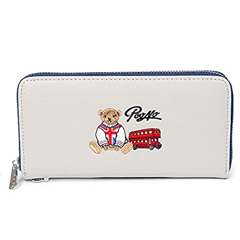 Fency Women's Cute Bear Wallet Long Embroidered Faux Leather Zip Around Purse (Glacier Gray)