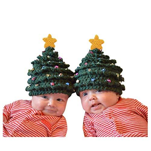 Cuteelf Kinder Winter Hut Wollmütze Winterurlaub Weihnachtsbaum Sterne Eltern-Kind-Hut Familienversion häkeln Hut Baby Weihnachten häkeln Sterne Hut Haar Ball Mütze