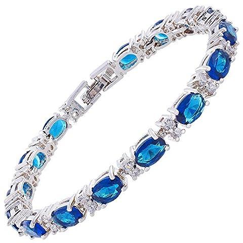 RIZILIA Forme Ovale Saphir Bleu Pierre De Naissance [CZ] 18K Plaqué Or Blanc [18cm/7inch] Bracelet Tennis Simple Élégant Moderne [Bijoux Gratuit Poche]