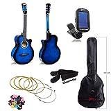 JJOnlineStore–Klassische Akustik-Gitarre, 3/4-Größe, 96,5cm, für erwachsene Anfänger, Jungen, Mädchen, Studenten, 6-Saiten-Gitarre, Set, Geschenk zu Weihnachten, Geburtstag,Blau Blue Package C