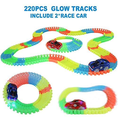Nuheby Pista Macchinine Pista Cars Luminosa per Bambini con 2 LED Auto da Corsa Flessibile 220 Pezzi Regalo Ragazzi Ragazze 3,4,5,6+Anni