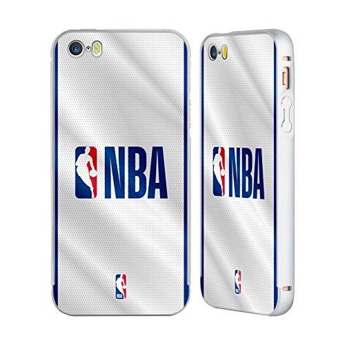 Ufficiale NBA Strisce Logoman Argento Cover Contorno con Bumper in Alluminio per Apple iPhone 6 Plus / 6s Plus Maglia