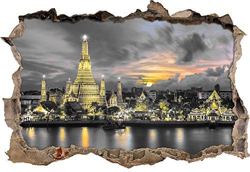 Wat Arun Nachtansicht Tempel Bangkok Thailand B&W Detail Wanddurchbruch im 3D-Look, Wand- oder Türaufkleber Format: 92x62cm, Wandsticker, Wandtattoo, Wanddekoration (Zeit, Reisen, Erotik)