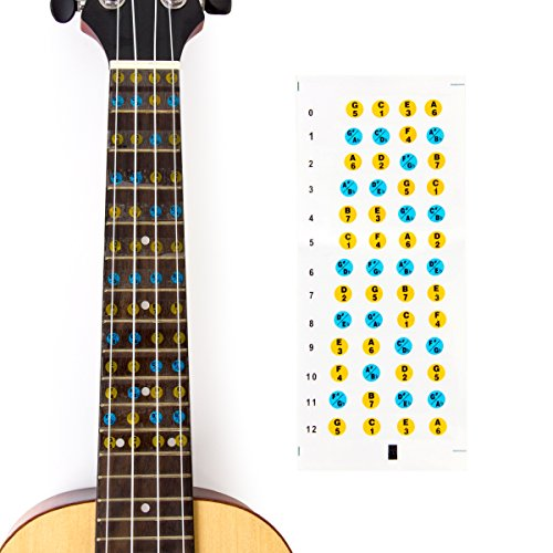 Ukulele Griffbrett Aufkleber Note Aufkleber 12Bünde Anzug für Sopran-Konzert Tenor-Banjo Ukulele Anfänger Learner Praxis