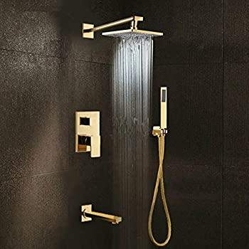 Polished Gold Shower Set 8 Inch Rainfall Shower Head Brass
