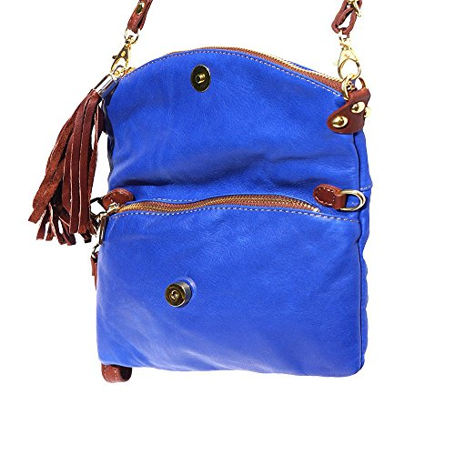 9602 Pochette Blu in elettrico Pochette marrone pelle in pelle wqv1fqZx