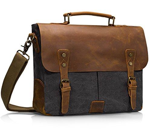 Estarer Vintage Leder Canvas Umhängetasche Laptop Tasche 15,6 Zoll Schultertasche Dunkel Grau