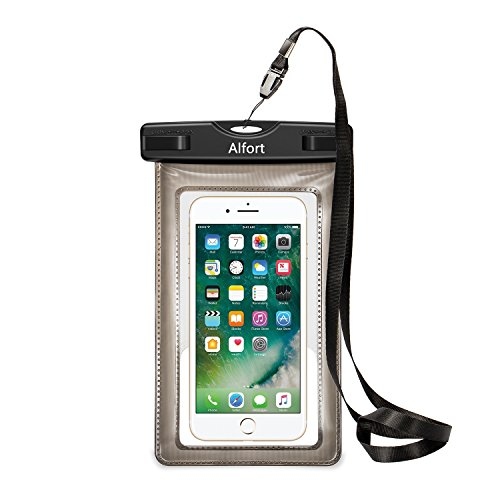 Wasserdichte Handy Hülle Tasche Staubschutz Cover, Alfort Universal Trocken Beutel Bag Handyhülle Staubdichte Schützhülle Transparent Sensitive Touch mit Armband und Umhängeband für iPhone 8 / 8 plus / 7 / 7 plus / Samsung Galaxy S8 / S7 / S7 edge / J3 / A3 2017 / A5 2017 / Huawei / Sony Xperia bis zu 6.0 Zoll Smartphones Ideal für den Strand / Wassersport / Angeln / Winterschwimmen / Klettern Sie den Schneeberg / Heiße Quellen Kann verwendet werden. (Schwarz)
