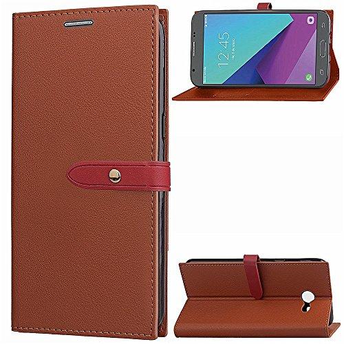 EKINHUI Case Cover Slim Premium PU Leder Geldbörse Hülle Flip Stand Schutzhülle mit Card Slots und Niet Gürtelschnalle Closure für Samsung Galaxy J5 (2017) American Edition ( Color : Brown ) Brown