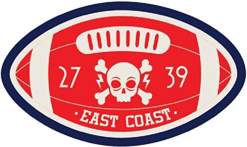 University East Coast Skull Amercian Football Rugby Sport Emblem Badge Hochwertigen Auto-Autoaufkleber 12 x 8 cm