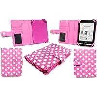 Emartbuy Sony Prs-T1 Polka Dots Pink / Weiß Tasche Hülle Tasche Für Sony Prs-T1 Ereader 2011 + Display Schutzfolie
