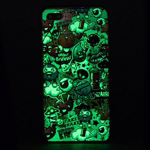 Custodia per iPhone 7 Plus 5.5,Cover per iPhone 7 Plus 5.5 Silicone,BtDuck Ultra Slim Creativo Nottilucenti Luminoso Flessibile TPU Morbido Silicone Protettiva Cassa Trasparente Fiore Design Crystal C #9