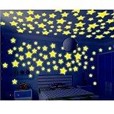 Hacoly 100er Sterne Leuchtsticker Wandaufkleber Leuchtsterne Selbstklebend Aufkleber Kinderzimmer Wanddeko Leuchtaufkleber Schlafzimmer Fluoreszierend Wandsticker Leuchtpunkte Wandtattoo - Gelb