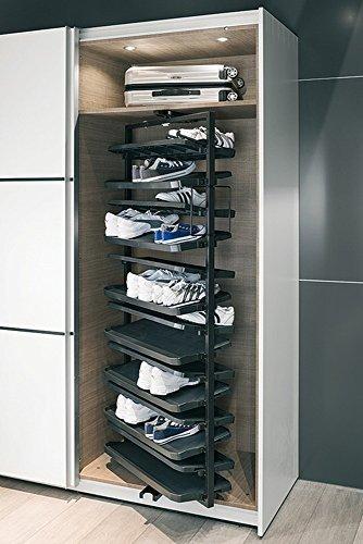 Schuhschrank-Auszug 180° drehbar Garderobenauszug Kleiderschrank Schuhhalter - Modell H3020 | Schuhablage für Korpushöhe 1680 mm | Metall schwarz | Möbelbeschläge von GedoTec®