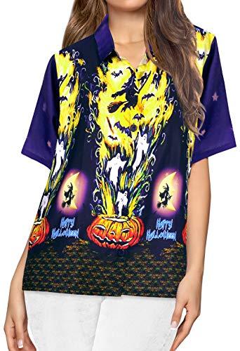 HAPPY BAY Hawaiihemd Vintage Outfit Frauen-Hawaii-Hemd Regular fit Kurzarm-Shirt Halloween Kostüm Scary Witch Ghosts Party Festliche Hexenkostüm Grusel Pumpkin Shirt für Frauen Navy blau_AA236 XXL (Scary Pumpkin Kostüm)