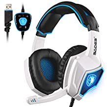 Updated SADES Spirit Wolf 7.1 Surround Stereo Sound USB Computer Gaming Headset with Microphone,Over-the-Ear Noise Isolating,Breathing LED Light For PC Gamers (Black & White)