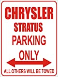 INDIGOS - Parkplatz - Parking Only- Weiß-Rot - 32x24 cm - Alu Dibond - Parking Only - Parkplatzschild - Chrysler stratus