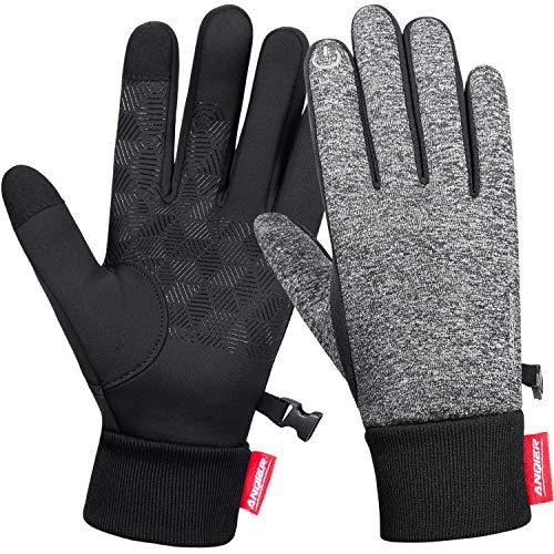 coskefy Fahrradhandschuhe Winter Handschuhe Damen Herren Sport Warm Touchscreen Laufen Arbeit Outdoor Gloves rutschfest Winddicht schwarz Fitness Camping Wandern Reiten Bergsteigen (Grau-A, L)