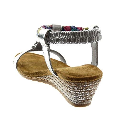 Angkorly Scarpe Moda Sandali Cinturino Donna Strass Intrecciato Fantasia Tacco Zeppa Piattaforma 4.5 cm Argento