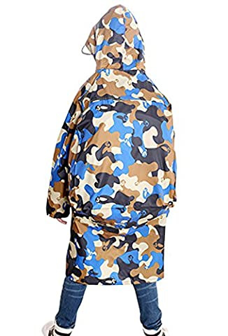Kids Boys Girls Newest Camouflage Raincoat Rain Mac Jacket Cycling Rain Cape Hood with Transparent Visor, Back with Extended Backpack Cover, Fit for Children 5-15