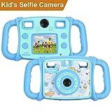 DROGRACE Enfant Appareil Photo Numérique Caméra avec Double Objectif 1080P HD Selfie Camera avec 4 x Zoom,Flash Lights,2 Pouces LCD et Poignées pour Cadeau d'anniversaire de Filles et Garçons - Bleu